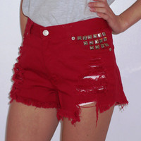 High Waisted Red Denim Shorts by BohoJane on Etsy