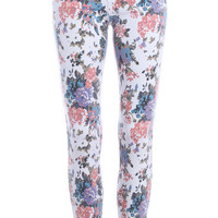 ROMWE | Floral Print Skinny Pants, The Latest Street Fashion