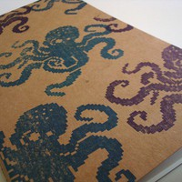 8 Bit Octopus large moleskine journal (sketch) artist notebook nautical geeky