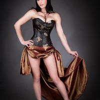 Custom Size Brown and Copper Steampunk Burlesque corset with train prom dress available in sizes small-XL