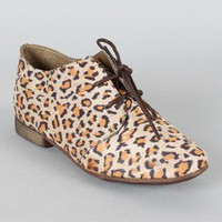 Breckelle Sandy-21 Leopard Lace Up Oxford Flat