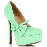 Mint Mary Jane Bow Pump