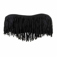 L*Space Swimwear Dolly Fringe Bandeau in Black