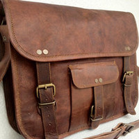 Genuine Auth Men's Women's Real Leather Messenger Laptop Briefcase Satchel Bag
