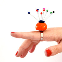 Pin Cushion Ring Ceramic ,  big bold oversize outrageous handmade cocktail ring - Neon Orange
