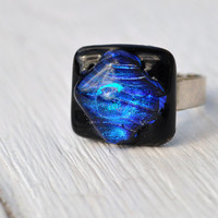 Blue Glass Ring striking cobalt modern design by GeckoGlassDesign