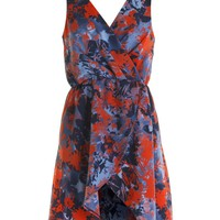 LOVE Red Flow Print Pinafore Wrap Dress