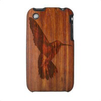 Hummingbird wood carving iphone 3 case from Zazzle.com