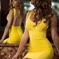 Starry Yellow  Halter Bandage Dress