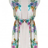 LOVE Bella Print Chiffon Front Panel Bow Waist Dress - Love