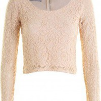 LOVE Nude Long Sleeve Lace Top - Love
