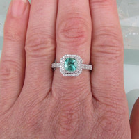 Emerald Double Halo 14k Gold Engagement Ring or Wedding Anniversary Ring May Birthstone Gemstone Jewelry