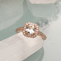 White Sapphire Engagement Ring in 14k Rose Gold Diamond Halo Wedding Anniversary Gemstone Ring