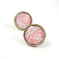 Pastel Pink and White Floral Pattern Earring Studs by MistyAurora