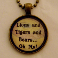 Lions And Tigers And Bears Wizard of Oz Necklace. 18 Inch Ball Chain.
