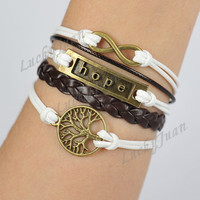 Infinity, Hope & A Tree of Life Charm Bracelet-Bronze Bracelet-Wax Cords and Leather Bracelet-Personalized Bacelet,Friendship gift-- B086