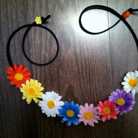 Multi Color Small Daisy Flower Headband, Flower Crown, Flower Halo, Festival Wear, EDC, Coachella, Ezoo, Rave, Beach, Hippie Headband