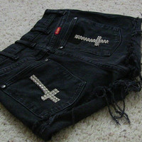 Vintage Destroyed Denim High Waisted Inverted Cross by csrclothing