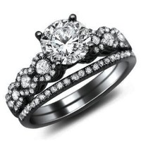 Amazon.com: 1.26ct Round Diamond Engagement Ring Bridal Set 18k Black Gold with a .50ct Center Diamond and .76ct of Surrounding Diamonds: Jewelry
