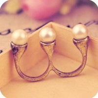 Antique Gold Plated 2 Finger Pearl Ring