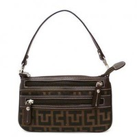 Brown Jacquard Zip Top Handbag