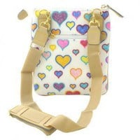 White Multi Hearts Messenger Style Simulated Leather Tote