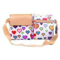 Multi Hearts Fanny Pack (White)