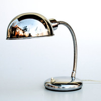 Shiny Chrome Vintage Desk Lamp, Gooseneck Industrial Mid Century Italy