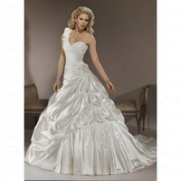 Spring 2012 Organza Modern A line One Shoulder Lace up Wedding Dress