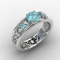 Aquamarine engagement ring, filigree ring, vintage style, blue engagement, unique, wedding ring, white gold, aquamarine filigree