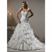 Elegant Spring 2012 Satin Sweetheart Church Empire Lace up Wedding Dress