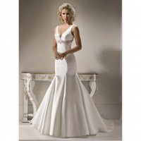 Spring 2012 Satin Trumpe Floor Length Backless Pear Wedding Dress