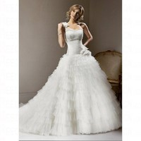Spring 2012 Floor Length White Tulle Empire Lace up Wedding Dress