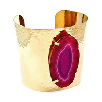 Pree Brulee - Textured Pink Slice Cuff