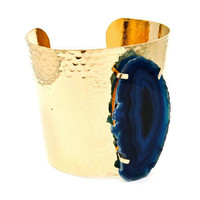 Pree Brulee - Textured Blue Agate Cuff