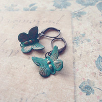 Verdigris Butterfly Earrings - Butterfly Charm Earrings Butterfly Earrings Woodland Wedding Earrings Cute Elegant Romantic Whimsical Dreamy