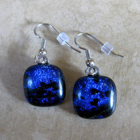 Blue Earings, Dichroic Dangle Earrings, Hypoallergenic Jewelry, Etsy Fashion Jewelry - Blue Lake - 1564 -2