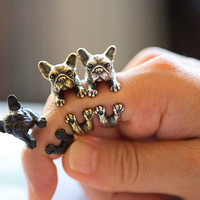 KopoMetal handmade bulldog ring black / silver / golden by yaci