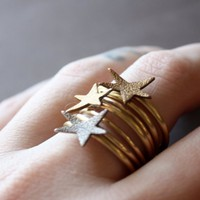 Stacking Star Rings in Mixed Metals Custom Made by BrillianceFound
