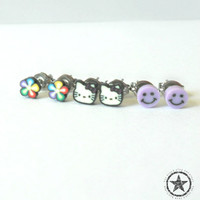 FREE SHIPPING - Childrens Polymer Clay Hello Kitty Earring Set - Surgical Steel Posts - Childrens Jewelry