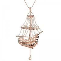 Moxsie.com - 3D Ghost Ship Necklace Rose Gold