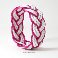 Sailor Bracelet in White Cotton Outlined in Hot Pink Satin