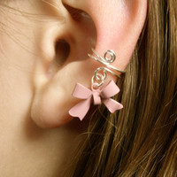 LIMITED EDITION PINK Ear Cuff, Dainty and Feminine Silver Cuff with Dusty Pink Bow Charm