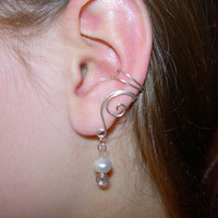 EAR CUFFS Pair of Solid Sterling Silver Ear Cuffs with Genuine Fresh Water Pearls