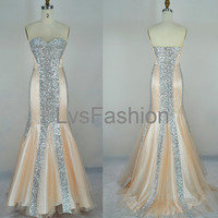 Mermaid Strapless Sweetheart Sequined Champagne Prom by LvsFashion
