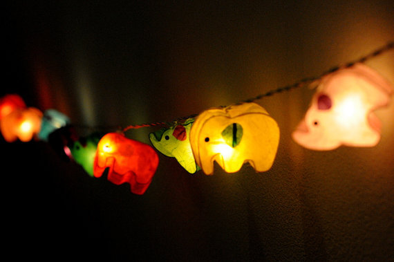 Paper Lantern String Lights Bedroom : 20xhandmade Elephant zoo animal plant from cottonlight on Etsy