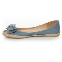 Mixx Sandra 01 Indigo Chambray Bow Toe Espadrille Flats - &amp;#36;21.00