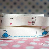 Pink Rabbit and Blue Whale Name Labels  Japanese by applesandeggs