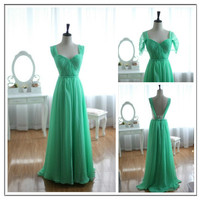 Blue Chiffon Bridesmaid Dress/Prom Dress