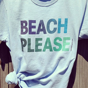 NEW - Beach Please - Ladies Light Blue T-shirt - Free Shipping
